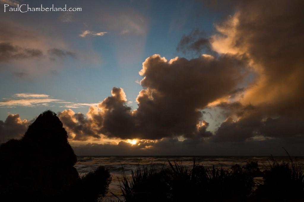Nouvelle Zélande-île du sud-Mer Tasman-Couché de soleil